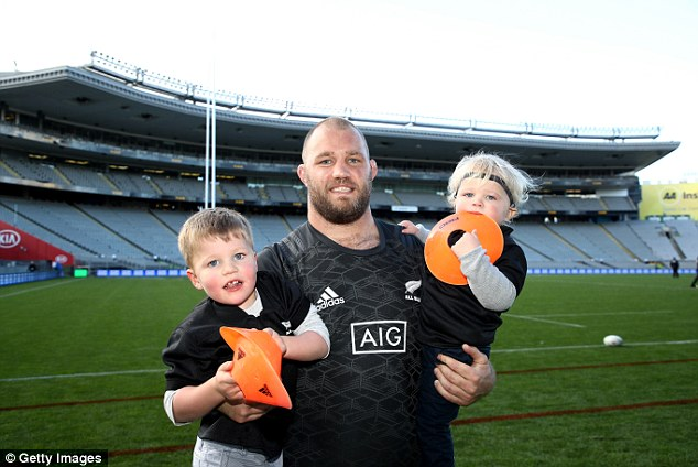 After training, prop Owen Franks is joined by his two sons Thomas (left) and Beau at Eden Park