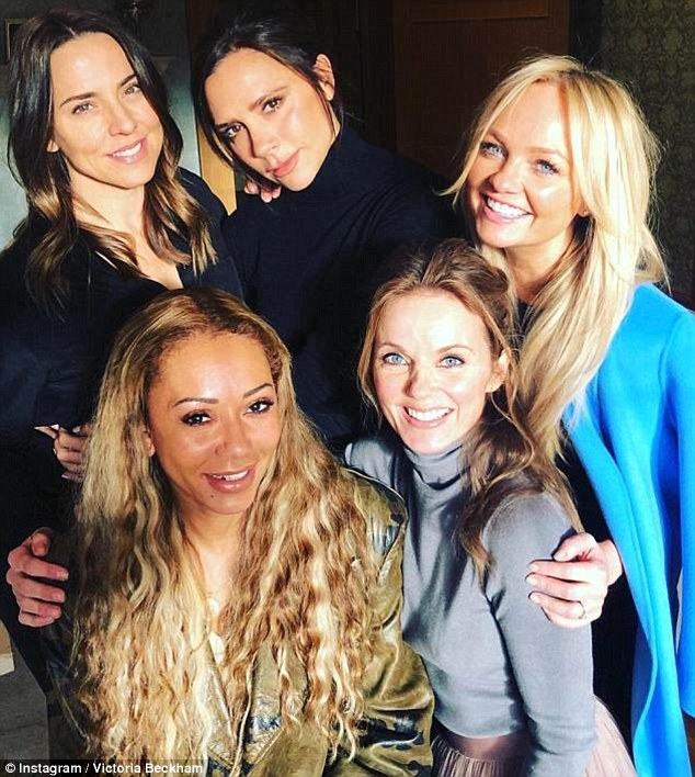 Back together: In February, (L-R) Mel C, Mel B, Victoria, Geri and Emma Bunton sparked speculation of a reunion after they posed for a surprise snapshot together
