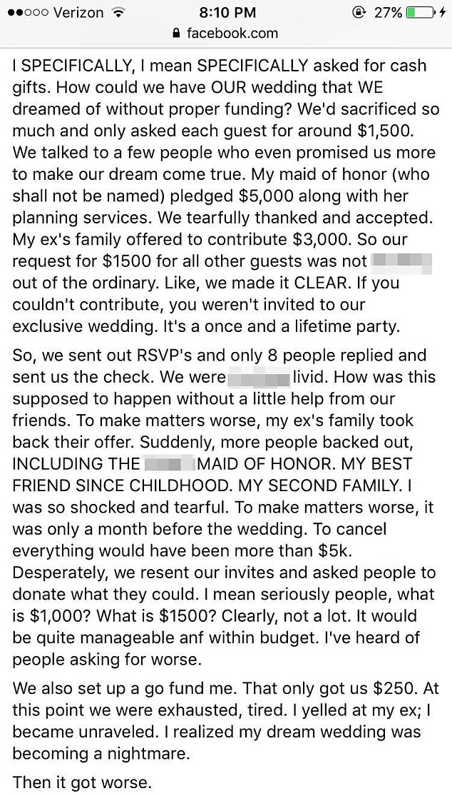 The bride-to-be insisted she had specifically told her guests she wanted 'cash gifts'