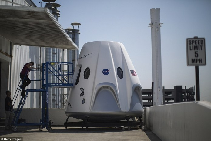 SpaceX's Crew Dragon capsule measures 20 feet tall by 12 feet in diameter, and will carry up to 7 astronauts at a time. However, the manned flight will have four astronauts on board