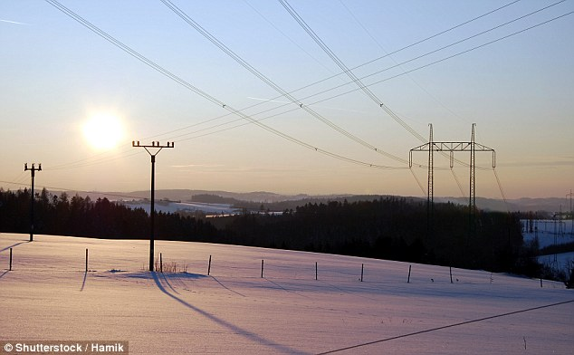 The new method is a completely passive, solar-powered way of combating ice build-up and can be used on power lines, researchers say (stock image)