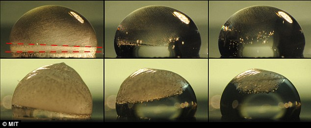 From top-left to bottom-right, images of a droplet sprayed with MIT researchers' new material shows the ice droplet slowly thawing using heat stored from the heat