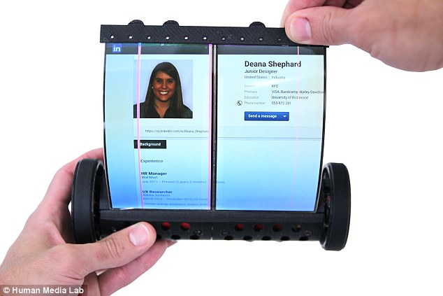 Although the MagicScroll is large compared to other devices, its creators say the prototype device is small enough to fit in a pocket and is easier to hold with one hand vs. a regular tablet