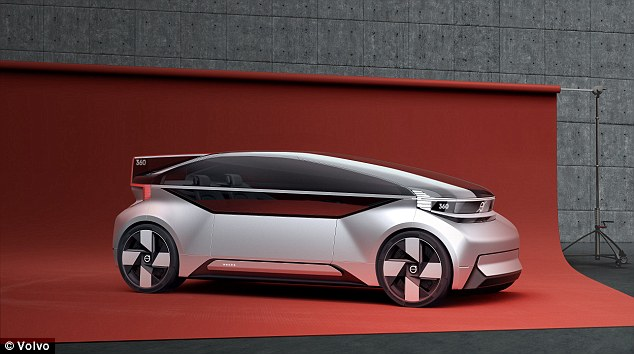 Volvo on Wednesday unveiled its latest concept car, dubbed the 360c, that's an all-electric, autonomous vehicle meant to make traveling and commuting a more pleasant experience