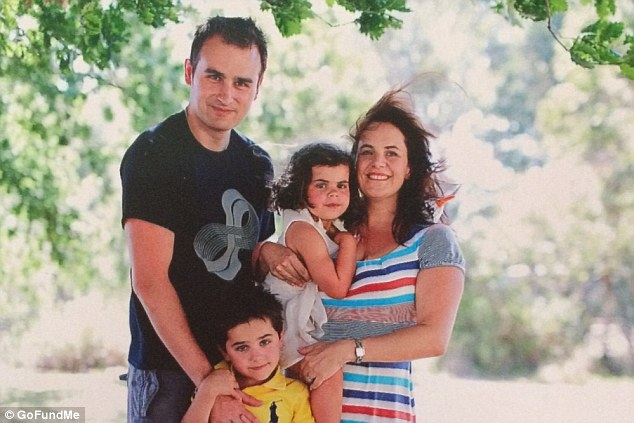 Kate Richmond (pictured with her husband Brett and their children Lauren, aged six and Finn, nine) has been diagnosed with peritoneal mesothelioma, caused by exposure to asbestos