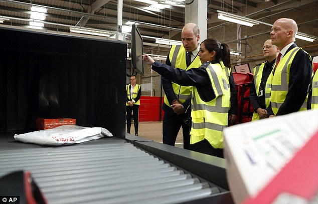 Royal Mail staff spot suspicious packages, and Border Force officers put them through X-ray scanners. Pictured, Prince William looks at one such scanner