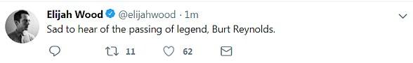 Difficile à accepter: Elijah Wood, de la célébrité du Seigneur des Anneaux, a partagé sa tristesse: «Triste à entendre le décès de la légende, Burt Reynolds»