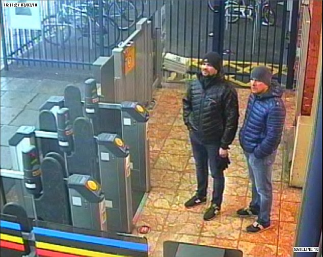 Scotland Yard  withheld their identities to keep England fans safe in Russia. Pictured: They were caught on CCTV at Salisbury train station  on March 3, the day before Mr Skripal was poisoned