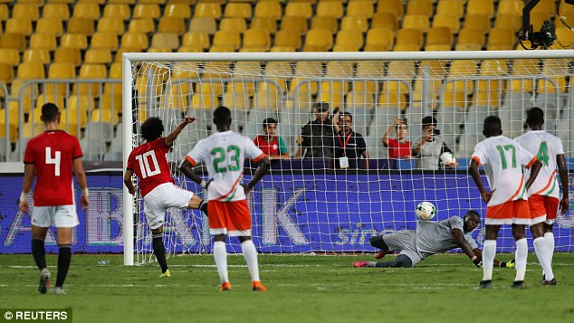 Salah sees one of his spot kicks saved during the2019 Africa Cup of Nations qualifier
