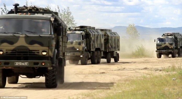 The drills, which include the Chinese and Mongolian armies, were condemned by NATO as a rehearsal for'large-scale conflict'