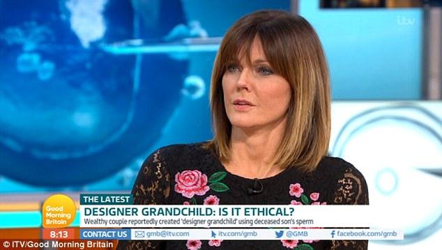 Une psychothérapeute, Annabel Giles, a critiqué l'enfant qui avait récolté le sperme de leur fils mort pour obtenir un petit-fils, les accusant de «vol». Sur la photo: Mme Giles sur Good Morning Britain mardi