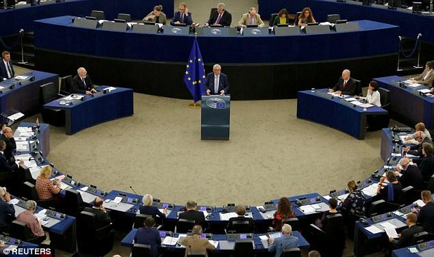 The EU Commission President (pictured making his State of the Union address) said the EU would work 'day and night' for a close relationship after the UK quits the bloc