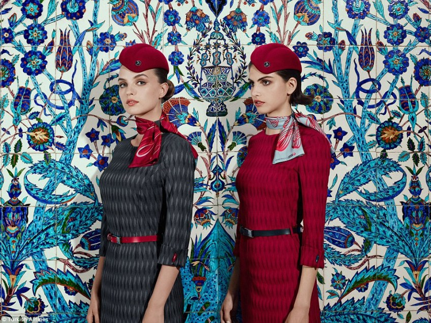 The red and grey dresses that form part of Turkish Airlines' new cabin crew uniforms that have been unveiled to mark the opening of Istanbul's new airport