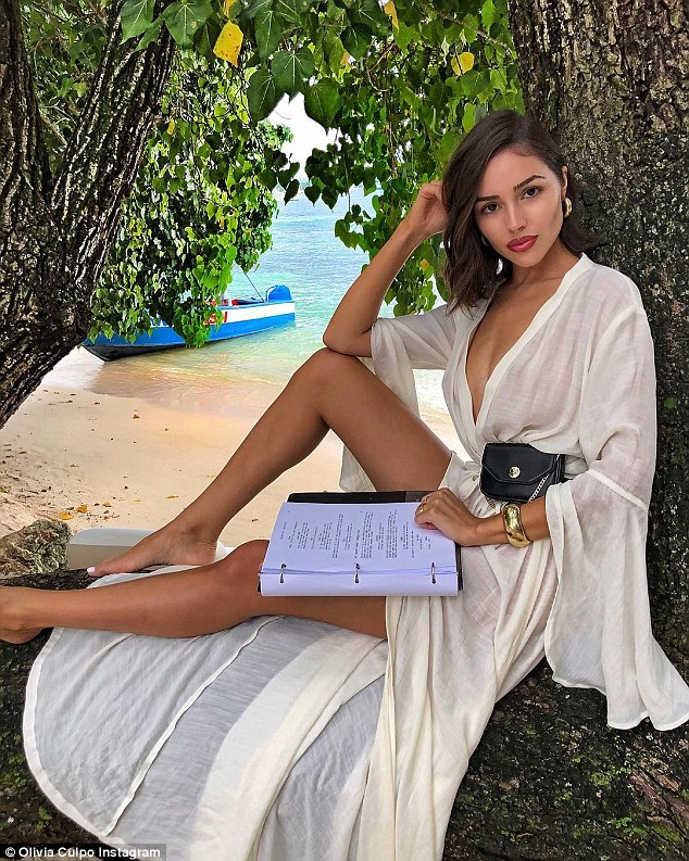 Just reading a script: Earlier this week the actress shared this image as she was done up while looking at a new project by the shore