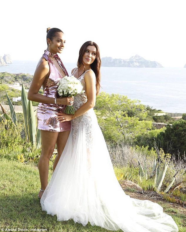 Blushing bride:Making sure to command attention, Alesha slipped into a plunging sequin dress which teased at her cleavage and showcased her decolletage