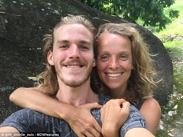 Tina and Simon (pictured together), who now live in Bali, claim there are many benefits to being a fruitarian, including having more energy