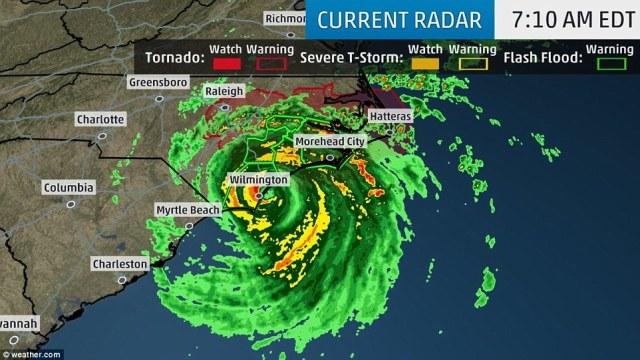 Hurricane Florence made landfall near Wrightsville Beach, North Carolina, at 7.15am on Friday with winds of up to 90 mph