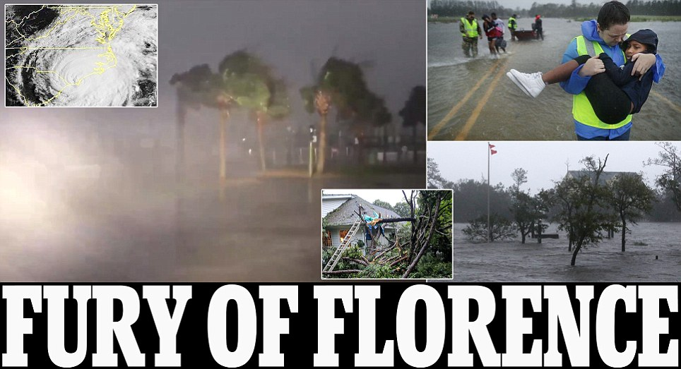 Hurricane Florence hits land as center of it reaches North Carolina