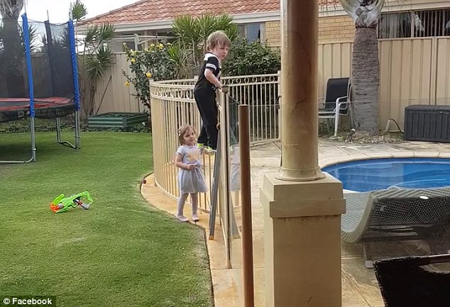 The 3-year-old boy was caught by his mum on camera. His mum posted the shocking video on social media to warn parents of the risk of not watching kids near water