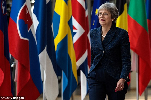 The Prime Minister (pictured at the EU Council in June) has made clear it is deal or no deal: accept what she has negotiated or leave Britain crashing out on March 29, 2019 with no agreement in place