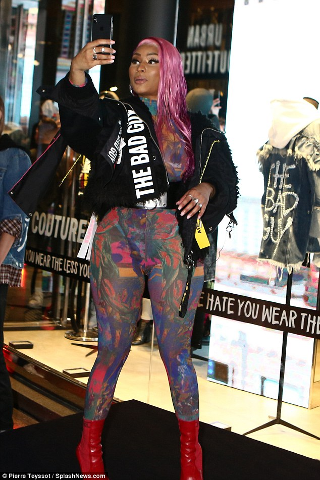 Shock? Rap diva Nicki Minaj donned a black Diesel jacket emblazoned with 'The Bad Guy' while serving brand ambassador duties for the Italian fashion label during MFW on Wednesday