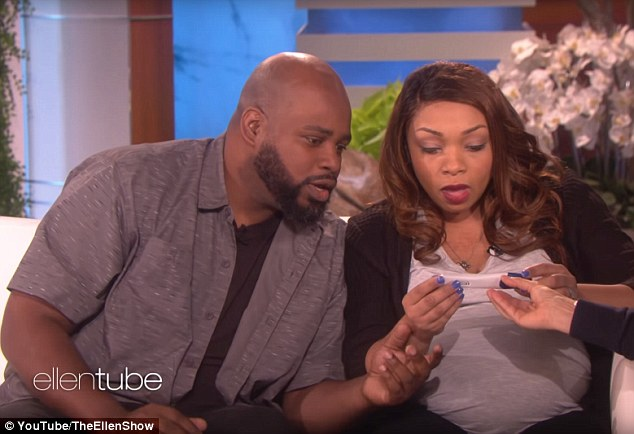 Incredible: But Ellen had a surprise of her own when she handed over a pregnancy test