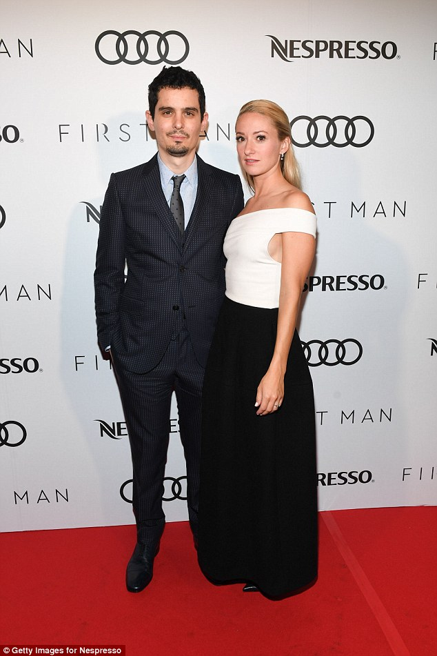 On the red carpet: Babylon was written and is being directed by Damien Chazelle who is the youngest person to have ever won The Oscar for Best Director at 32 for La La Land, as he is seen in September 2018 with wife Olivia Hamilton