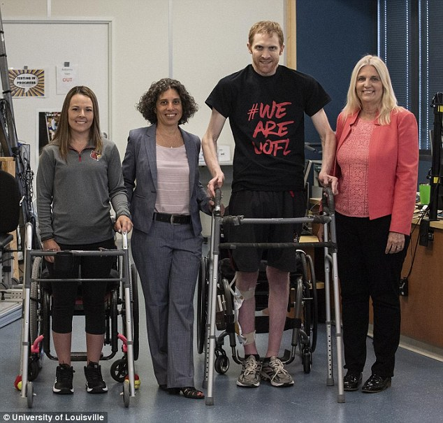 Both Thomas and Marquis are now able to take steps on their own with the assistance of walkers or support bars. Pictured, left to right:Thomas, Dr Claudia Angelim, Marquis and Dr Susan Harkema