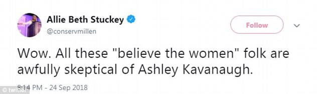 Conservative commentator questioned the skepticism surrounding Ashley Kavanaugh's support of her husband