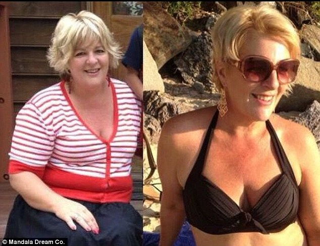 Pictured is Jul before and after she adopted a clean lifestyle including a healthy diet, yoga, organic skincare and chemical-free products