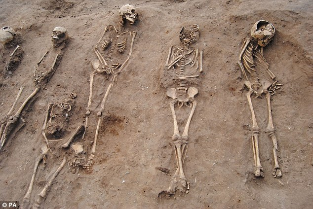 The Black Death in the 1340s was one of the deadliest outbreaks of disease in human history. Pictured: a mass grave uncovered at the site of a 14th-century monastery in Lincolnshire