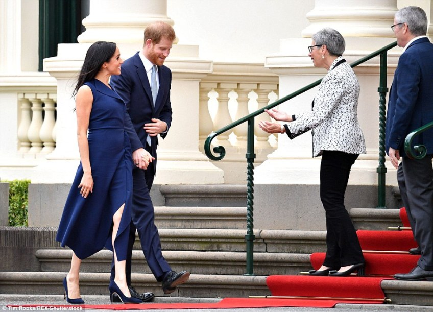 Harry and Meghan have now been and gone at Government House, where they were greeted by Governor Linda Dessau