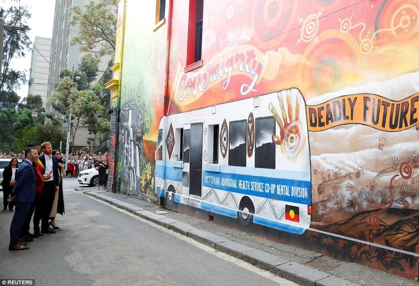 The couple departed Government House, visiting an Aboriginal artwork mural on Fitzroy restaurant Charcoal Lane