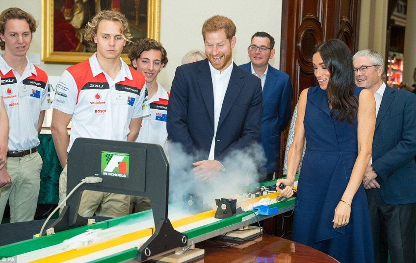 The Duke and Duchess of Sussex raced model Formula 1 cars inside Government House, meeting with young leaders