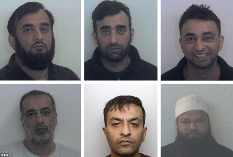 (Top row, left to right:) Tayab Dad, Nasar Dad, Basharat Dad. (Bottom row left to right:) Matloob Hussain, Mohammed Sadiq and Amjad Ali groomed two girls and sexually abused in Rotherham