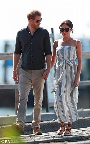 Meghan's simple Reformation dress on Fraser Island came in second with 23.95 per cent (pictured)
