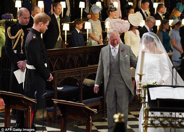 Millions of viewers were left deeply moved as the prince turned to his father and said, 'Thank you Pa', as Charles completed the walk down St George's Chapel at Windsor with Meghan on his arm