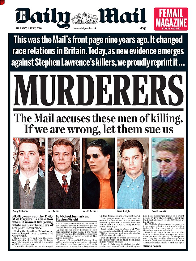 The Daily Mail naming all five suspects beneath the headline 'MURDERERS' in 1997