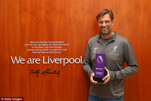 Klopp was December's Manager of the Month and has now won a Sportsmail Oscar to boot