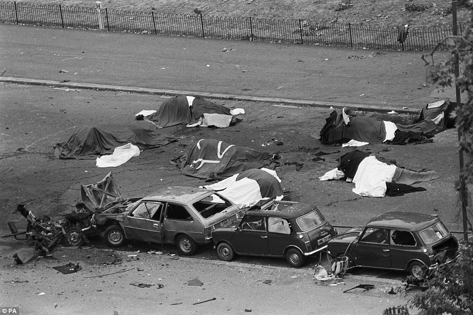 Downey was accused over the Hyde Park blast in 1982, pictured, which killed four Royal Household Cavalrymen, but has always denied responsibility