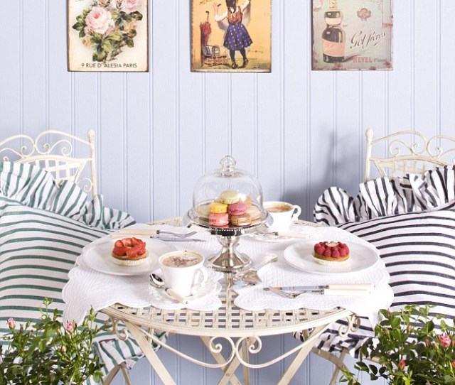 Cafe Culture Go Al Fresco Parisian Style With Vintage Posters And An Elegant Heirloom Centrepiece