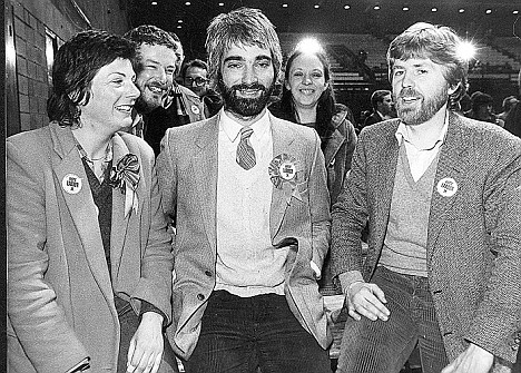 Back to the Eighties: Alistair Darling (centre) with supporters after the 1982 Edinburgh regional elections