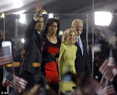 2-inch glass surrounds Obama at his victory celebrations