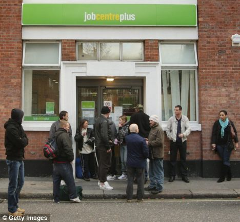 Jobseekers outside a Jobcentre Plus