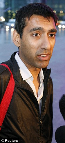 Joey Jeetun speaks to journalists at Heathrow Airport after returning from Mumbai