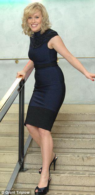 Rebecca Wilcox wearing a Herve Leger dress