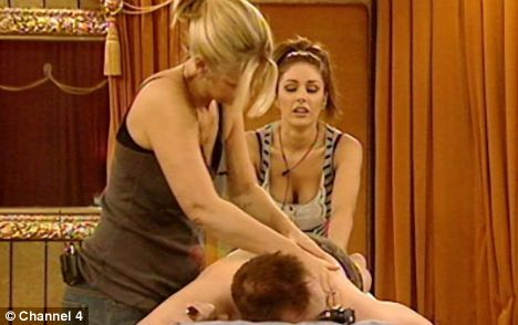 Terry is stripped by Lucy and Ulrika for a massage this evening and La Toya has to entertain him as the court Jester