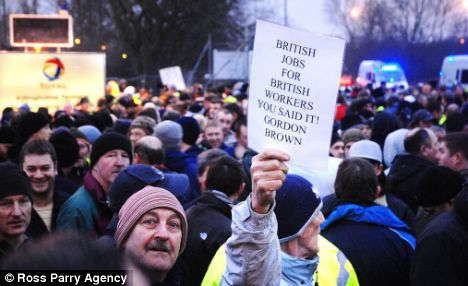 Protesters are furious that 400 European workers are being brought in to work on a £300million construction project