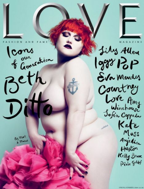 Beth Ditto on the cover of Love magazine, nude aside from some pink fabric covering her genitals