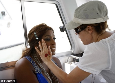 The make-up artist was faced with a challenge as Mica was forced to dip in and out of the sea for the shoot